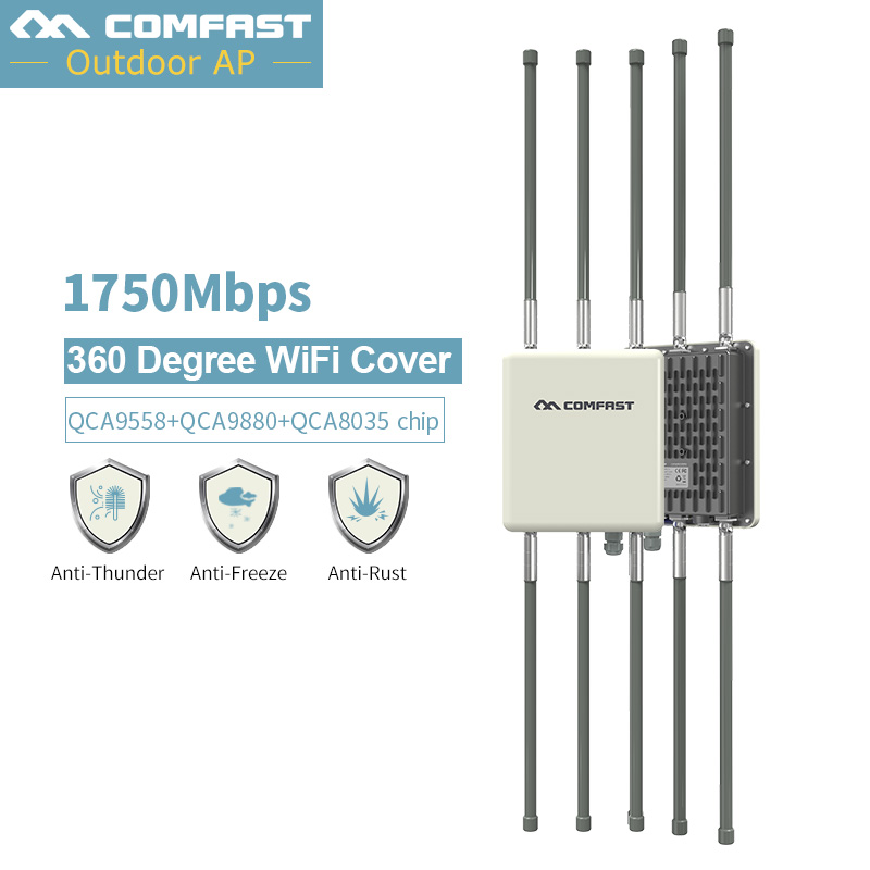 1750 Mbps de Banda Dupla 2.4G & 5.8G Outdoor CPE AP Router Amplificador de Sinal WiFi Hotspot Repetidor de Longo Alcance ponto de Acesso sem fio PoE