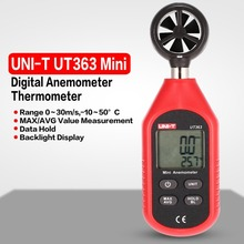 UNI-T UT363 Mini Digital LCD Anemometer Thermometer Handheld Pocket Size Wind Air Speed Temperature Tester Backlight