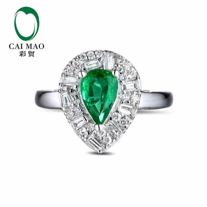 CaiMao 1.03 ct Natural Emerald 18KT/750 White Gold 0.39 ct Full Cut Diamond Engagement Ring Jewelry Gemstone colombian