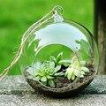 3 pcs Moda Transparente Claro Rodada Vidro Terrário Hidropônico Vaso de Flor Planta Ficar Pendurado Escritório Em Casa Do Casamento Do Jardim Decoração