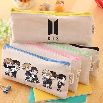 2018 Hot Sale 2 Pieces Funny Canvas Handbags BTS School Bags Anime Print School Handbags Zipper pencil bags Customizd Own Logo jung kook bts persona