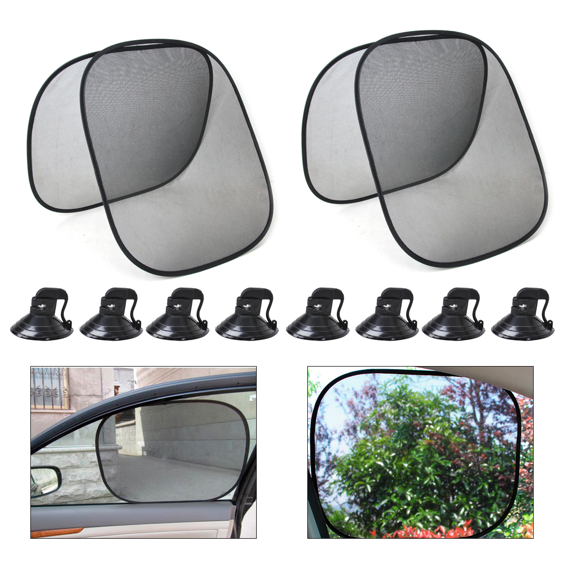 CITALL 4pcs Foldable Car Side Window Sun Shade Mesh-pattern Screen Visor Shield Cover for BMW E90 VW Golf Audi A4 A6 Mazda 3 Kia image
