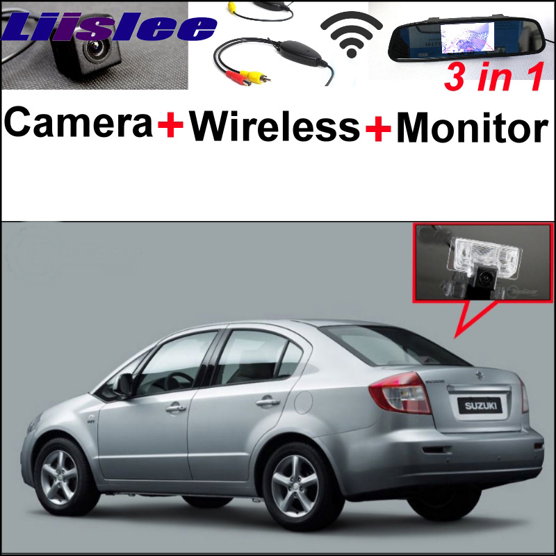 3 in1 Special Rear View Camera + Wireless Receiver + Mirror Monitor Easy DIY Back Up Parking System For Suzuki SX4 SX-4 SX 4