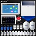KERUI 7 Zoll TFT Farbe Display WIFI GSM Alarmanlage Hause Alarmanlage kit Drahtlose Tastatur Rfid Fernbedienung Solar sirene