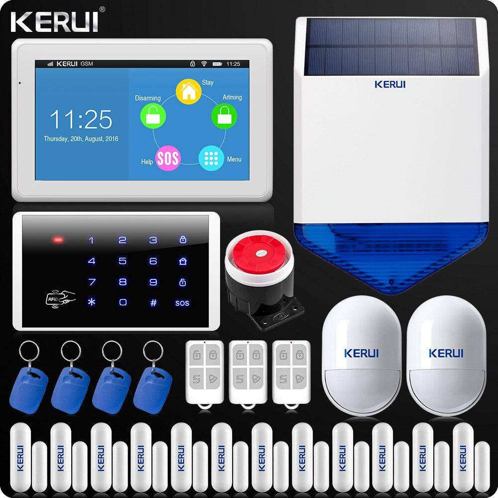 KERUI Tactile-Écran 7 pouce TFT Couleur D'affichage WIFI GSM Alarme Système D'alarme de Sécurité À Domicile Sans Fil Clavier Rfid Solaire sirène