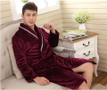 winter fall warm   Men's  Flannel Robes Bathroom Robe  Bathrobe Pajama Thick Long Spa Robe Shower Homewear