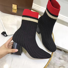 famous brand stripe sock boots women thick heel stretch slim ankle boots knitting winter Chelsea boots glitter botas mujer s161