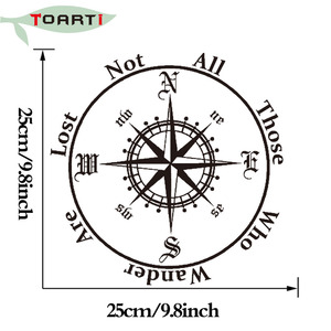 Image 5 - Not All Those Who Wander Are Lost Compass Car Sticker Reflective Removable Pvc Art Words Door Decor Decals Adhesive