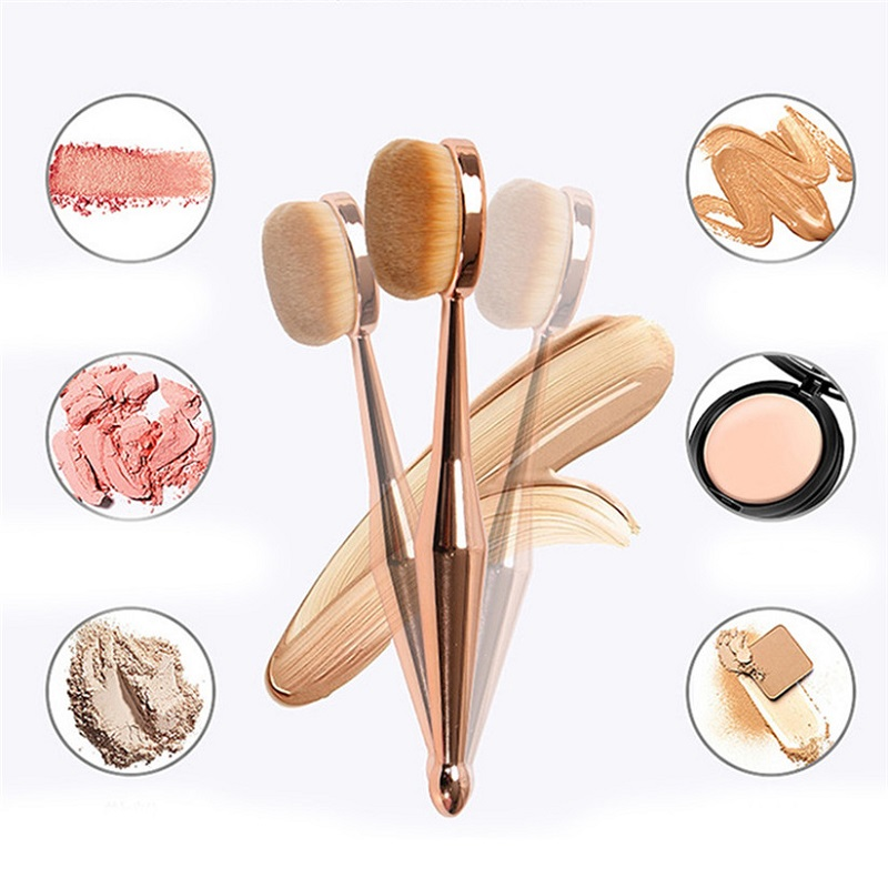 1 PCS Toothbrush Shaped New Beauty Instrument Makeup Brush Multi-functional Base Oval Brush Rose Gold image