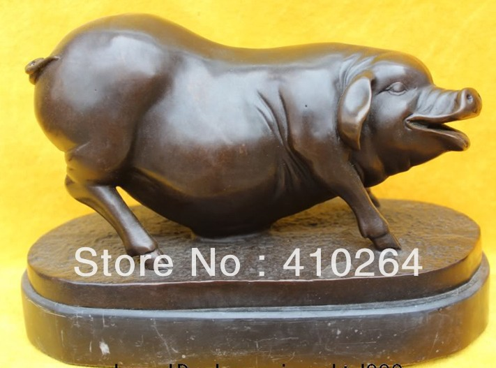 ] Shipping Marble Fengshui Base Art Bronze Deco Chinese zodiac Year Animal Of Pig Statue|animations deco|animal art|animated pigs - title=
