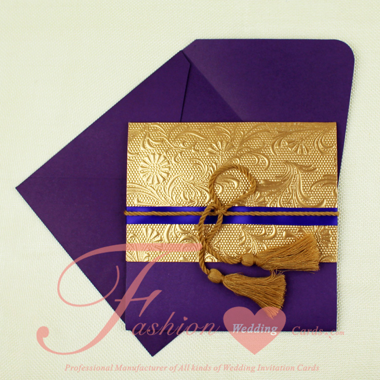 Wedding Invitations Pocket Style: 40 Sets/Lot Diy Cheap Pocket Style Elegant Purple And Gold