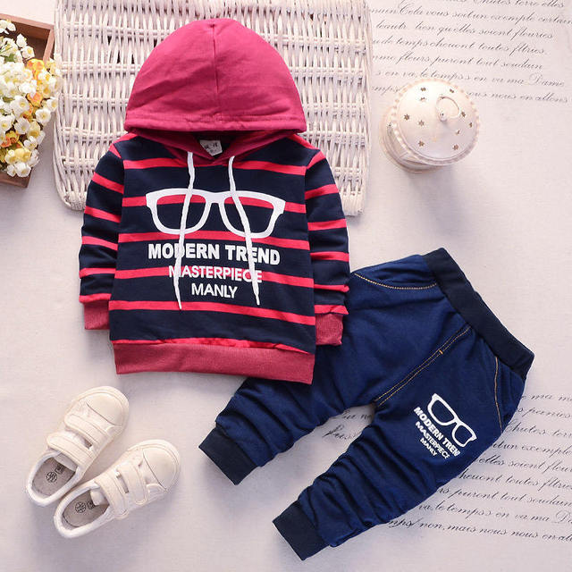 df4fb5920 BibiCola newborn boys clothes set baby hooded pullover infant boys cotton  tracksuit set striped hooded sweatshirt pants 2pcs