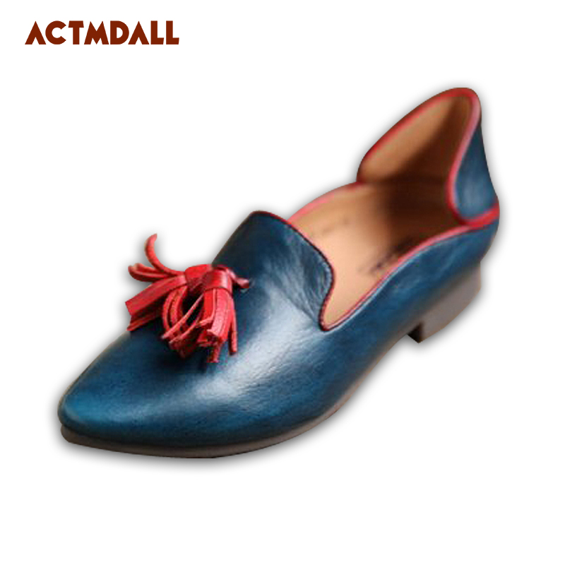 2018 Spring Office Work Female Shoes Leather Pointed Toe Flat Shoes Woman Tassel Shallow Mouth Casual Patchwork Casual Shoes 2018 spring summer low heel sandals pointed toe shallow mouth women shoes woman cozy casual shoes leisure single ladies shoes cy