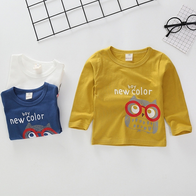 New Spring Boys Girls Cartoon Cotton T Shirts Children Tees Boy Girl Long Sleeve T Shirts Kids Tops Brand Baby Clothes 12M-8Y