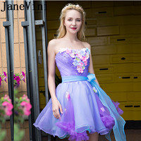 JaneVini 2018 Tulle Purple Short Bridesmaid Dresses With Pearls Hand Made Flowers Strapless Backless A Line