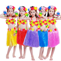5PCS/set Plastic Fibers Kid Grass Skirts Hawaiian Costumes Bra Headband Wristband 40cm Hula Skirt Girl Fancy Dress Up