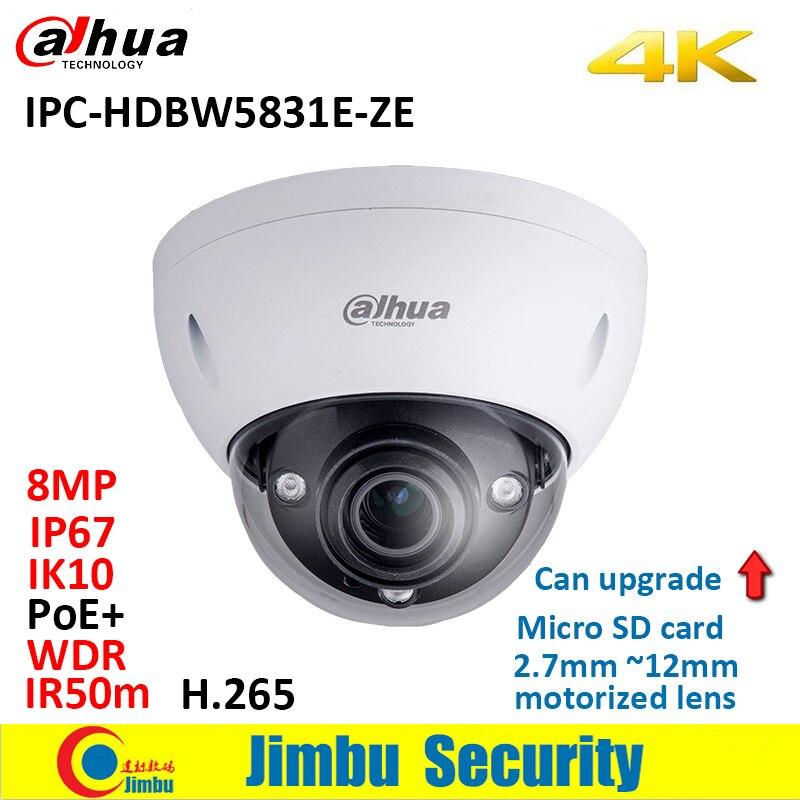 Dahua 8MP camera IPC HDBW5831E ZE WDR Network h 265 IR50m PoE 2 7mm 12mm motorized
