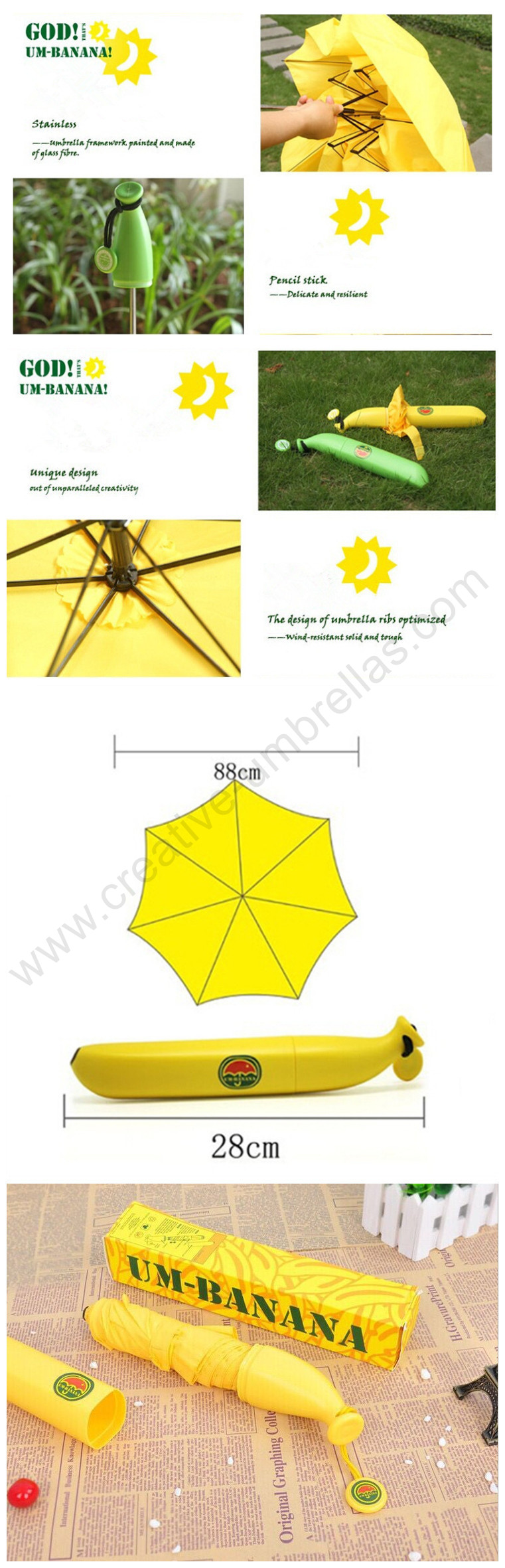 Fruit Veg Novelty Banana or Carrot Compact Folding Umbrella Brolly Telescopic