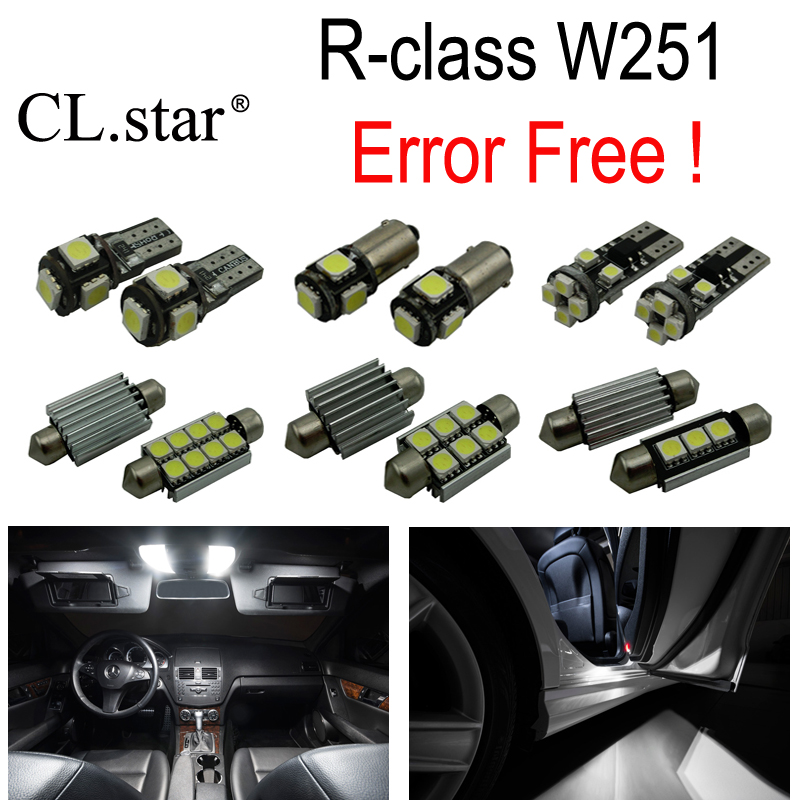 24pc X Canbus Error Free LED interior dome light lamp Kit package For Mercedes Benz R class W251 R320 R350 R500 (2006-2014) 10pcs error free led lamp interior light kit for mercedes for mercedes benz m class w163 ml320 ml350 ml430 ml500 ml55 amg 98 05