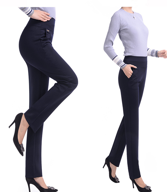 Image 2 - Makuluya 2 buttons withlogo Top Quality 5XL Plus Size Middle old Age Women Trousers High Waist Straight Casual Pants Solid L6-in Pants & Capris from Women's Clothing