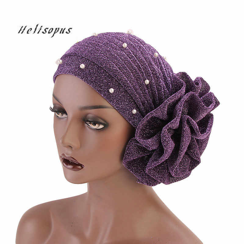 Helisopus 2019 Women Beaded Glitter Muslim Turban Big Flowers Headband for Women Hair Lose Cap Head Wraps Hair Accessories