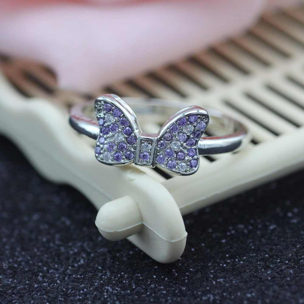 46999d52d 925 sterling silver ring Minnie micro inlay zircon silver ring Female charm  rings South Korea wholesale