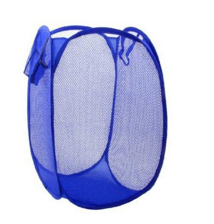 Folding Home Foldable Blue Meshy Design Clothes Storage Laundry Basket Laundry Hamper Ba ...