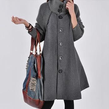 Bigsweety Winter Warm Windbreaker Women Wool Coat Cloak knitted Long-sleeved Trench Coat Womens Clothing Single-breasted Outwear 4