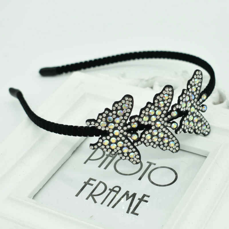 2019 new best selling three color butterfly girl cute headband small animal headdress zircon perfect hair accessories
