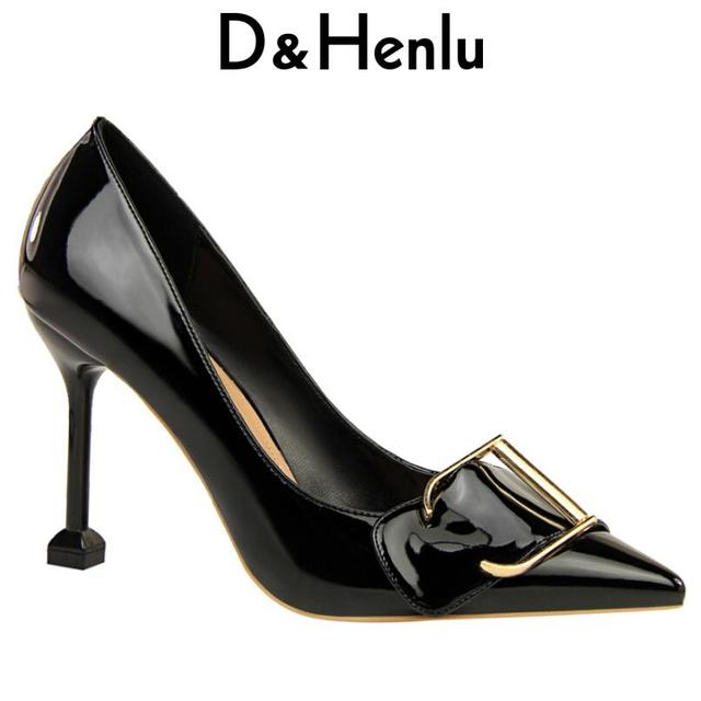 ccc292cf8d77  D Henlu  Fashion Square Buckle Shoe Sexy Women s High Heels Super High  Pointed Toe Thin Heels Buckle Shallow Office Lady Pumps