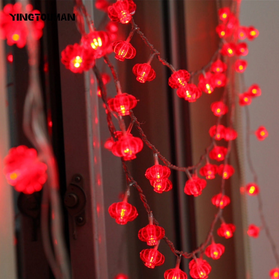 YINGTOUMAN 2pcs/lot 5m 40led Spring Festival Lantern Lamp LED String Lights Christmas Holiday Wedding Party Decoration Lighting