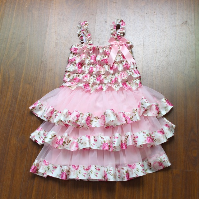 686da236e Cute Girls Pink Print Satin Ruffles Cake Dress Baby 3Layers Chiffon ...