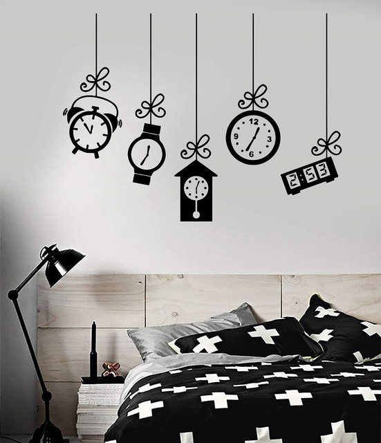 Vinyl wall decal alarm clock bedroom decoration dream sticker bedroom home decoration art mural wallpaper  2WS13