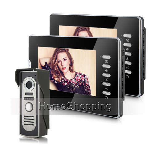 FREE SHIPPING New Wired 7 Color Video Intercom Door Phone System 2 Monitors + 1 Night Vision Doorbell Camera In Stock Wholesale free shipping new handheld 4 3 inch color tft video door phone doorbell intercom night vision door bell camera 3 screen in stock