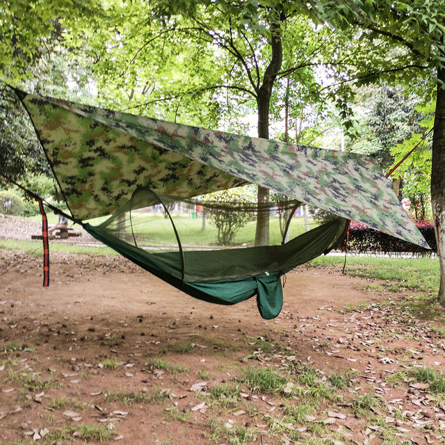 Outdoor Pop-Up Netting Hammock Tent With Waterproof Canopy Awning Set  Automatic Quick Opening Mosquito Free Hammock Portable 5
