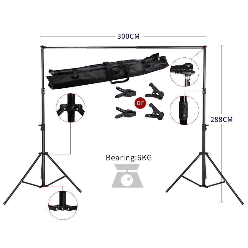 2.88MX3M Backdrops Frame Background Support System Photography Studio Background Holder Camera & Photo Accessories + Carry Bag allenjoy easter basket butterfly photography backdrops spring photography background photo studio background