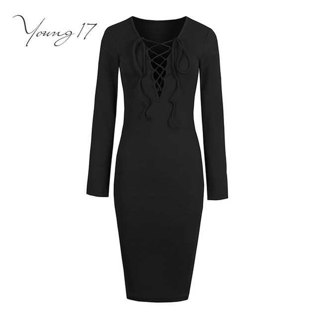 Young17 bodycon sweater dress 2017 women solid black office sexy dress long sleeve lace up v neck sexy female bodycon dresses