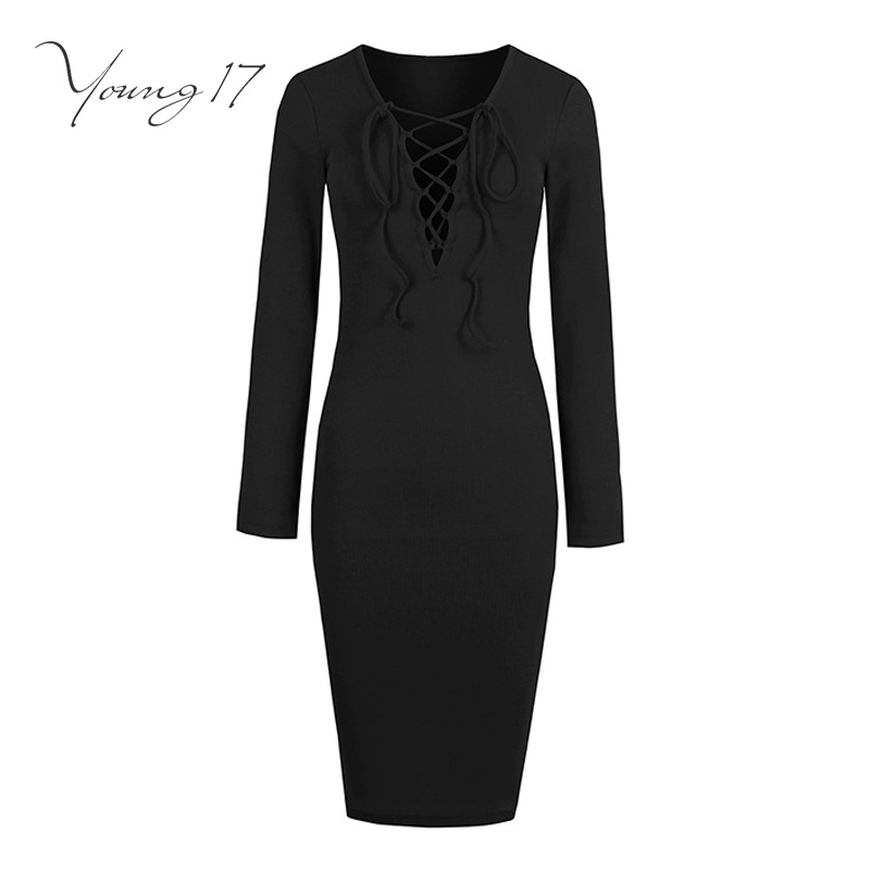 Young17 bodycon sweater font b dress b font 2017 women solid black office sexy font b