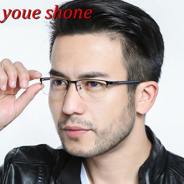 4ac94bd7f82 youe shone Gentlemen Fashion Eye Glasses Male Blue Half Rimmed Optical  Glasses Frame Men Eyeglasses
