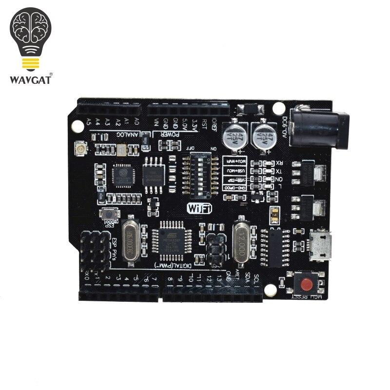 WAVGAT UNO R3 + WiFi ATmega328P+ESP8266 (32Mb memory) USB-TTL CH340G For  Arduino Uno NodeMCU WeMos ESP8266 One New Arrival