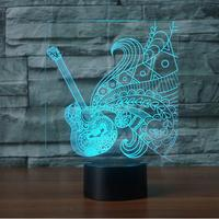 Guitar Shape 3D LED Night Light 7 Colorful Atmosphere Lamp Musical Instruments 3D Illusion Desk Table