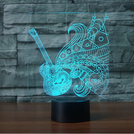 Guitar Shape 3D LED Night Light 7 Colorful Atmosphere Lamp Musical Instruments 3D Illusion Desk Table Lamp Baby Sleeping Lights цена