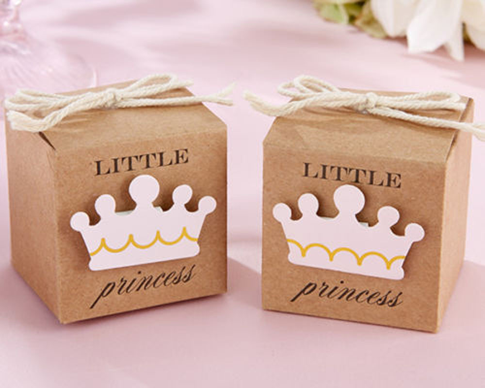 50Pcs Little Prince And Princesss  Box New Birth  Baby Shower Party Candy Gift Boxes Bag New Boy And Girls Favor Gifts Packing