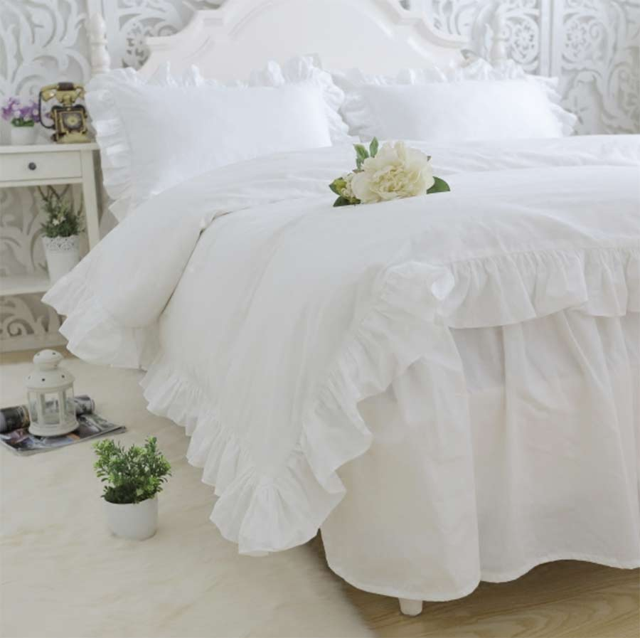 Twin white ruffle bedding - Princess Ruffle Solid White Wed Bedding Set Cotton Twin Full Queen King Single Double Bedclothes Pillowcase Quilt Cover Bedskirt