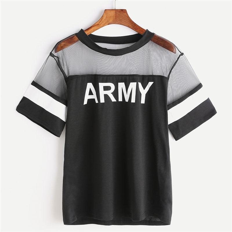 Army Letter Print Contrast Black Mesh Women T Shirt