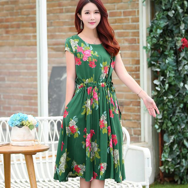 Fashionable Elegant Spring Floral Plus Size Dress