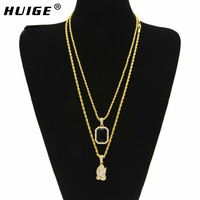 Hiphop Jewelry Necklace Set Alloy Iced Out Ruby Angel Jesus Wing Hand Pendant Necklace Men Jewelry