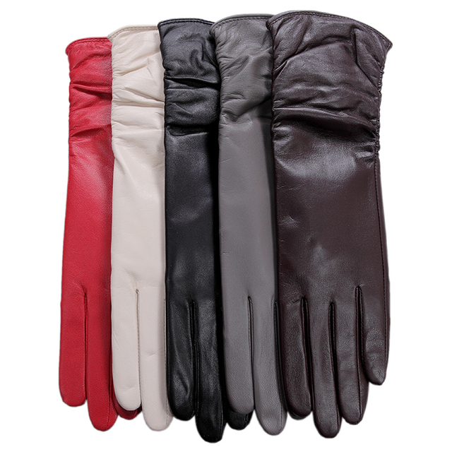KURSHEUEL Luxury Winter Women Long Leather Gloves High Quality Evening Party Genuine Leather Warm Driving Glove Female Mittens 3