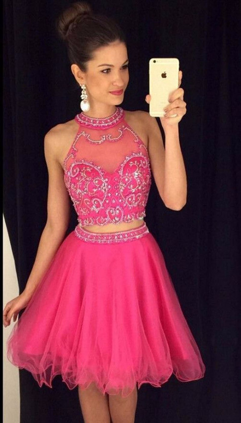 Hot Selling Sweet 2 Pieces Short   Prom     Dresses   Beaded Top with Tulle Skirt Homecoming Cocktail Party Gowns vestidos de baile