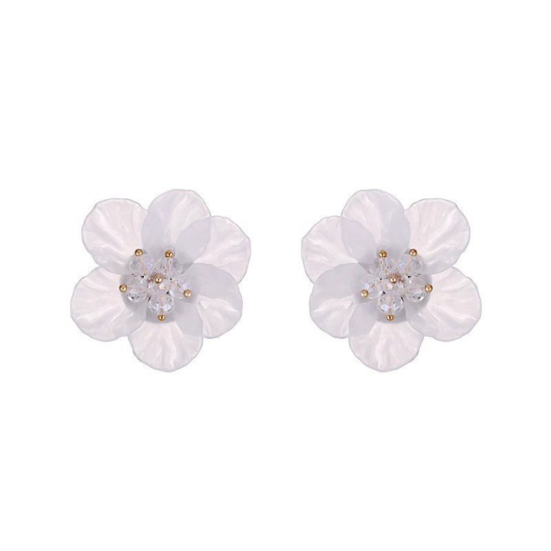 Korea CHIC Style Temperament Fairy Series White Crystal Flower Earrings Exaggerated